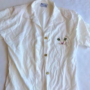 Mathews and Davis cat collared shirt size large